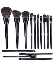 MSQ Makeup Brushes Set 14Pcs Beauty Brushes with Soft Synthetic Hair for Foundation, Powder, Blush, Eyeshadow, Lip - Black