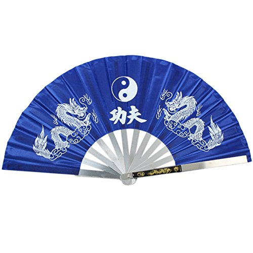 Apint Iron Fan Stainless Steel Frame Mascot Double Dragon Design Chinese Kung Fu Martial Tai Chi Fan (Blue)