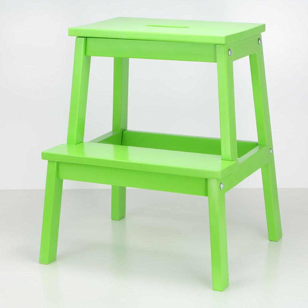 WSSF- ソリッドウッド2ステップスツールフットスツール靴ベンチ子供スモールスツールクリエイティブダブルレイヤーハイランダースツール、42.5 * 40 * 50センチメートル登る (色 : Green) B07DQDK5DB Green Green