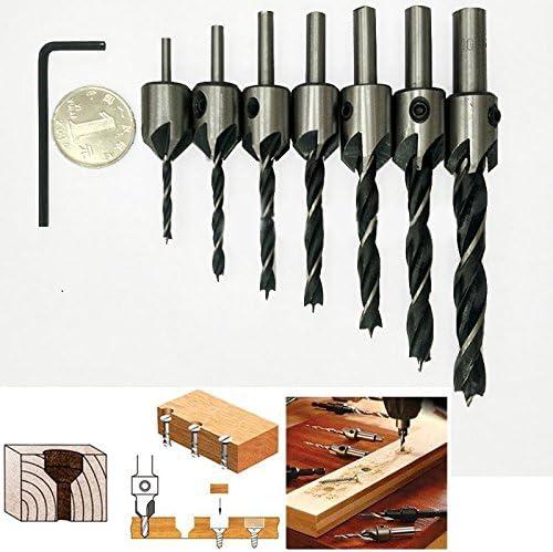 Yulakes 7/pcs HSS 5/Fl/ûte Fraise conique perceuses Bit Ensemble de vis HSS perceuses Bit Ensemble de Al/ésoir pour travail du bois Outil /à chanfreiner 3 10/mm