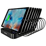 Skiva 84W 7-Port USB Charging Station with Wall/AC Input 2.4 Amps Smart Rapid Charging Ports for iPad Pro Air mini, iPhone 7 Plus & more (7 x Apple MFi Short Lightning Cables Included) [Model:AC123]