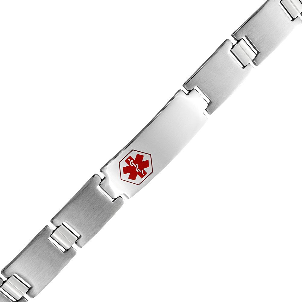 Bling Jewelry Personalized Medical Identification Alert ID Bracelet Watchband Matte Silver Tone Stainless Steel Custom Engraved