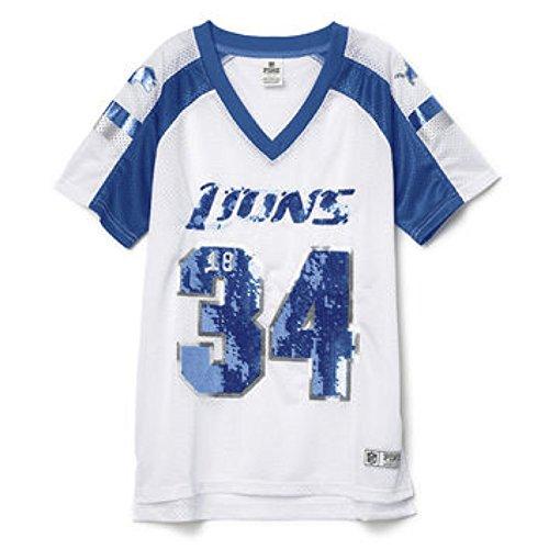 c59b0d493f2 All NFL Victorias Secret Tops. Victoria's Secret PINK Detroit Lions Bling  Jersey T-shirt ...