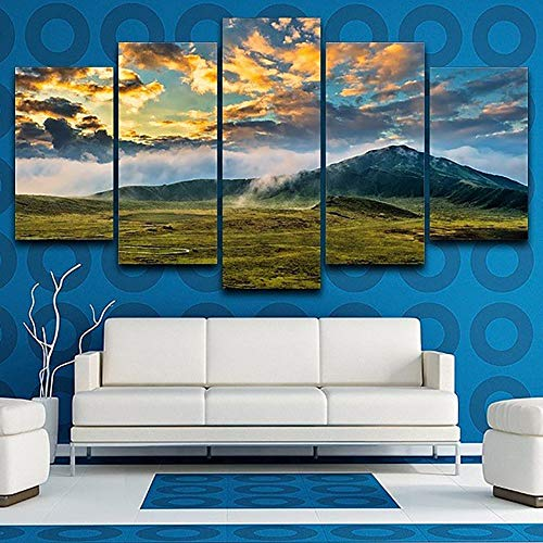 40x60 40x80 40x100cm No Frame Living Room HD Printed Painting Modern Wall Art Picture 5 Panel Mountains Grassland Landscape Home Decoration Posters Frame