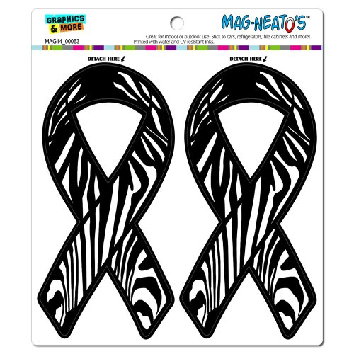 Zebra Print Support Awareness Ribbon MAG-NEATO'S(TM) Automotive Car Refrigerator Locker Vinyl Magnet Set (Zebra Decal Set)