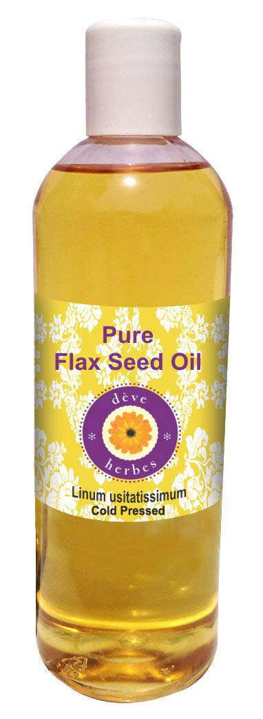 Deve Herbes Pure Flax Seed Oil (Linum usitatissimum) 100% Natural Therapeutic Grade Cold Pressed 200ml (6.76 oz) by Deve Herbes