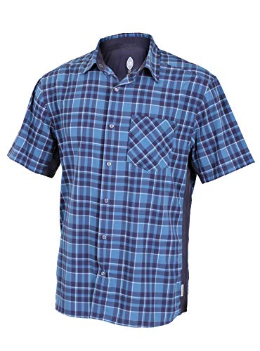 Ride Jersey Shorts - Club Ride Apparel Detour Biking Shirt - Men's Short Sleeve Cycling Jersey - Steel Blue Plaid - Large