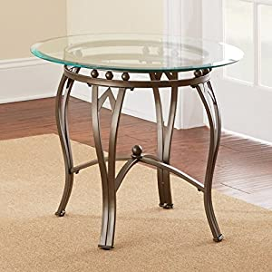 Amazoncom Steve Silver Madrid Round Pewter Metal End Table