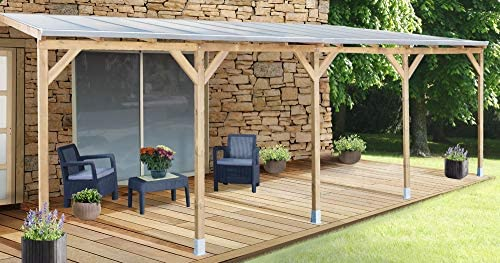 Chalet-Jardin Techo couv terraza madera 3 x 7, 4 – con tejado ...