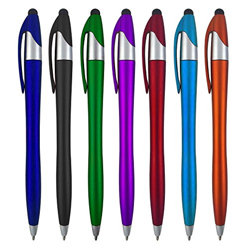 Stylus Pens - 2 in 1 Touch Screen & Writing Pen, Sensitive Stylus Tip - For Your iPad, iPhone, Nook, Samsung Galaxy & More - Assorted Colors, 7 - Screen Color 2 Inch