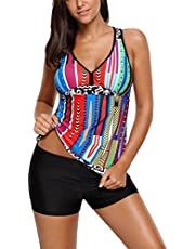 Sidefeel Women Stylish Multiple Print Racerbakc Tankini Set Swimsuit