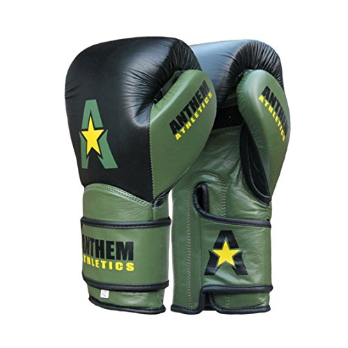 Anthem Athletics STORMBRINGER Fight Gloves - Muay Thai, Boxing, Striking, Kickboxing, 100% Premium Leather - Black, Army & Yellow - 12 (Leather Striking Gloves)