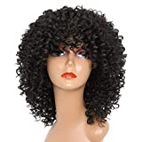 CCVGZ TSHIRT Long Red Black Afro Wig Kinky Curly Wigs for Black Women Blonde Mixed Brown 250g Synthetic Wigs,642-Black,18inches