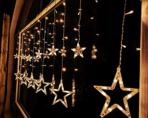 FuChsun Star Icicle String Christmas Lights 138 LED Starry Warm White 6.56×2.95ft Curtain 12 Twinkle Pentagon (7.9 and 3.74inch) Waterproof 9.84 Leading for X'Mas Wedding Birthday Party Décor