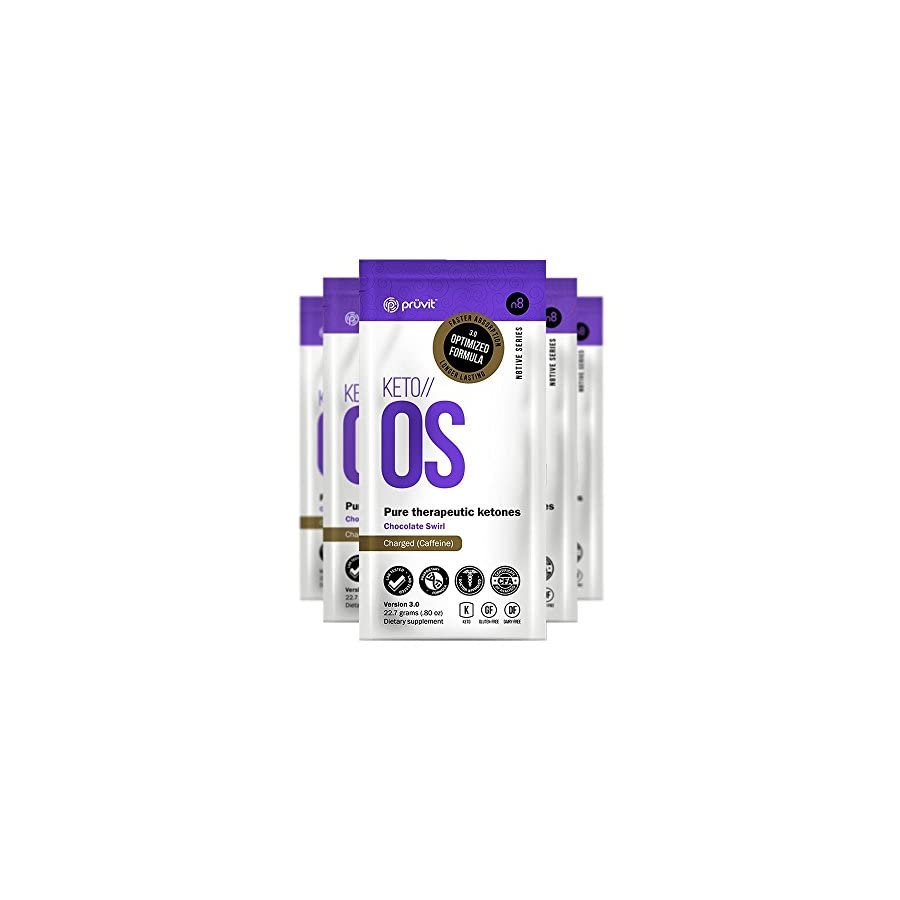 KETO//OS Chocolate Swirl 3.0 CHARGED, BHB Salts Ketogenic Supplement Beta Hydroxybutyrates Exogenous Ketones for Fat Loss, Workout Energy Boost and Weight Management through Fast Ketosis, 5 Sachets