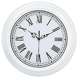45Min 12-Inch Round Classic Clock Retro Quartz Decorative Wall Clock with Roman numerals (White)