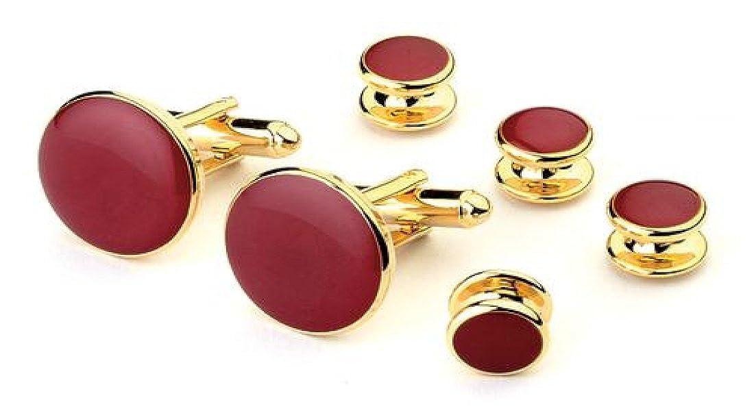 Burgundy Tuxedo Studs and Cufflinks Gold Trim 3896