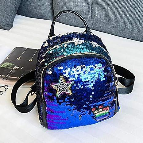 OneMoreT 2018 - Mochilas con lentejuelas brillantes, para adolescentes, niñas, para viajes, escuela, bolso de hombro, azul: Amazon.es: Instrumentos ...