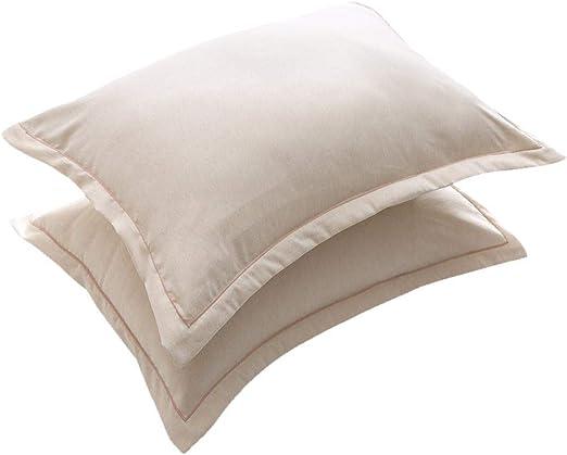 KEYREN 2 Piezas de Color sólido Funda de Almohada Suave algodón de Lino Funda de Almohada combinada decoración para el hogar(51 * 102cm*2-de Color Crema): Amazon.es: Hogar