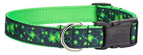 - Country Brook Design | Deluxe Clovers in The Wind Ribbon Dog Collar - Medium