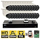 GW 32CH 4K (3840×2160) NVR H.265 Simplified PoE 24 5MP 1920p SuperHD 4X Motorized Zoom Outdoor Indoor Security Camera System, 100ft Night Vision, ONVIF Compliant, 8TB Included (4 SATA, Up to 32TB) For Sale