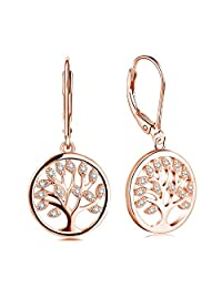 JO WISDOM 925 Sterling Silver Cubic Zirconia Family Tree of Life Drop & Dangle Leverback Earrings
