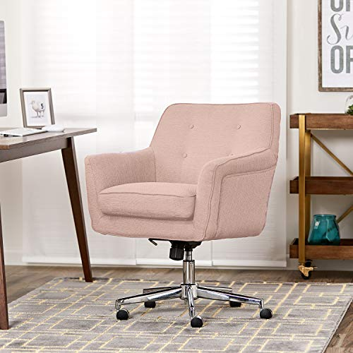 Cushion Arm Chair Style - Serta Style Ashland Home Office Chair, Twill Fabric, Blush Pink