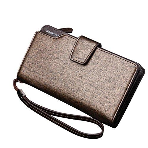 YJYDADA Wallet,Men Fashion Solid Color Hasp Multi Card Position Wallet Card Bag (Gold) ()
