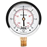 """Winters PFQ Series Stainless Steel 304 Dual Scale Liquid Filled Pressure Gauge with Brass Internals, 30"""" Hg Vacuum-0-15 psi/kpa,2-1/2"""" Dial Display, -1.5% Accuracy, 1/4"""" NPT Bottom Mount"""