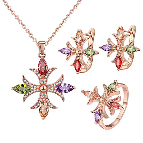OCARLY Multicolor Cross Cubic Zirconia Jewelry Set Crystal Necklace Dangle Earrings Bridal Ring - RAINBOW