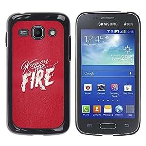 Ihec Tech Pink Texto fuego corazón blanco Llamas Amor / Funda Case back Cover guard / for Samsung Galaxy Ace 3