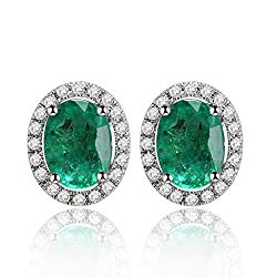 Rose White Gold Diamond Emerald Studs