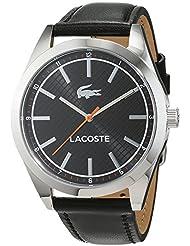 Lacoste Mens 43mm Black Leather Band Steel Case Quartz Analog Watch 2010888