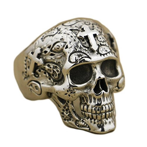 LISNION 925 Sterling Silver High Detail Skull Cross Ring Mens Biker Ring TA55 (8.5) - Cross Sterling Silver Biker Ring