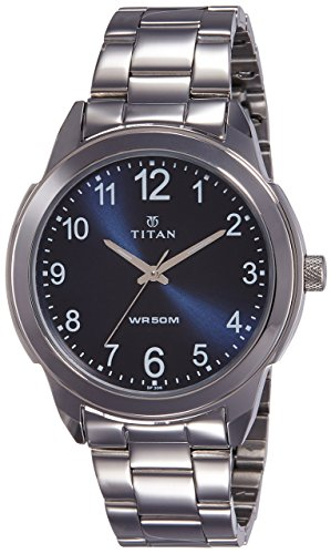Titan Neo Workwear Mens Quartz Analog Watch - Silver Metal Strap - Blue Metal Face ()