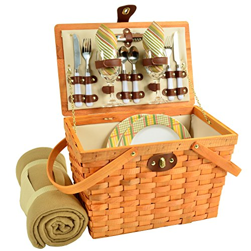 Picnic at Ascot Frisco Traditional American Style Picnic Basket With Blanket, Hamptons