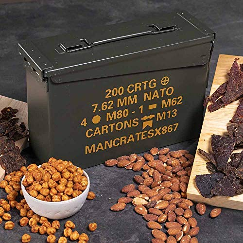 Man Crates Premium Jerky Ammo Can - The Ultimate Gift for Meat Lovers - Includes 3 Beef Jerky Flavors, Gourmet Almonds, Corn Nuggets And More - Ships In A Glorious, Steel Ammo Can He'll Love by Man Crates (Image #3)