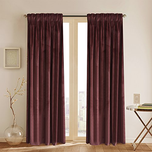Wash Velvet Curtains - Room Darkening Velvet Curtains 84 inch Long Rod Pocket Drapes for Bedroom Thermal Insulated Moderate Blackout Window Curtain for Girls Room Red