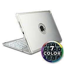 iPad Air 2 keyboard case, iPad Pro 9.7 Keyboard case [Bluetooth iPad Case with Keyboard] COOPER NOTEKEE F8S Backlit Wireless Clamshell Keyboard iPad Case   7 Color LED Backlight, 60HR Battery (Silver)
