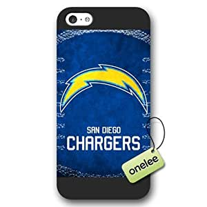 Personalize NFL San Diego Chargers Team Logo Frosted iPhone 5c Black Case Cover - Black