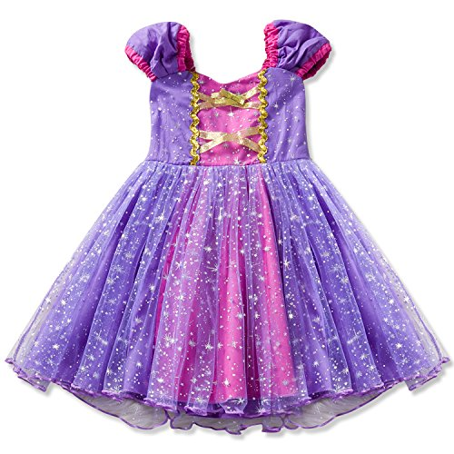 Little Girls Princess Cinderella Rapunzel Dress Elegant Mermaid Party Fancy Costume for Toddler Girl Size (100) 2-3 Years Purple -