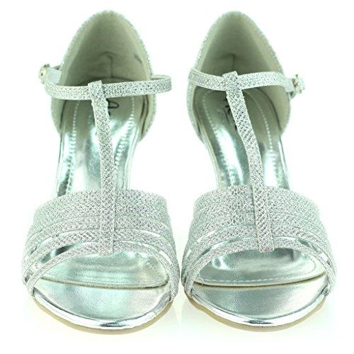 Bar Zapatos Boda Plateado Sandalias Punta Abierta Noche Fiesta Talla Prom Señoras Medio Mujer Delgado T Tacón vA1IxSq