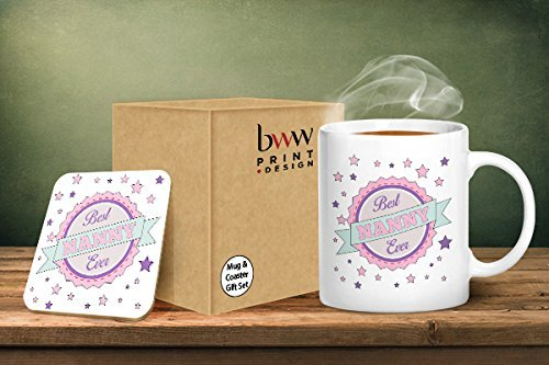 Best Nanny Ever Mug And Matching Coaster Set - Printed Mug & Coaster Gift Set BWW Print Ltd