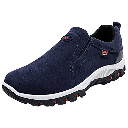 Décontracté Sans Basse Randonée Homme Marche Lacets Outdoor Baskets Suédé Bleu Multisport Mauea Chaussures Chassures XqSw8CR