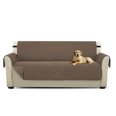PETCUTE Cubre Sofa Fundas de Sofa 3 plazas Protector de sofá para Mascotas Marrón Claro