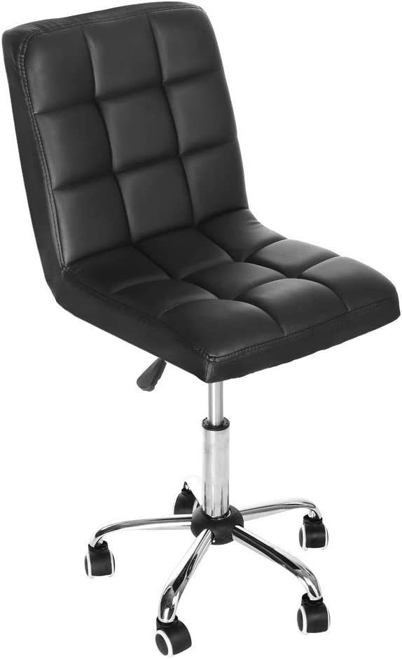 Hmlai Mid-Back Black Quilted Vinyl Swivel Task Chair,Office Lift Chair,Beauty Salon Chair