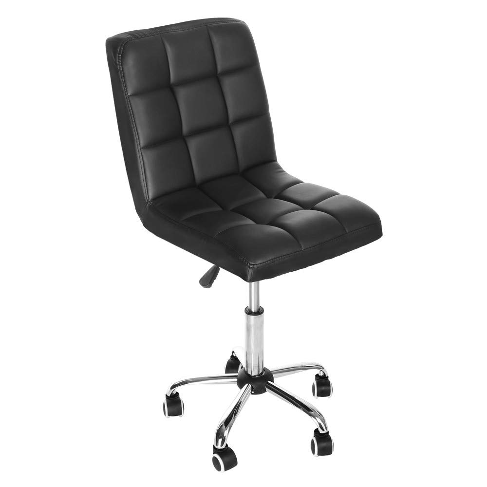WONdere Casual Home Office Chair Fashion Backrest Chair Lift Chair Passenger Seat Reception Chair Task Chair in Vegan Leather (Black)