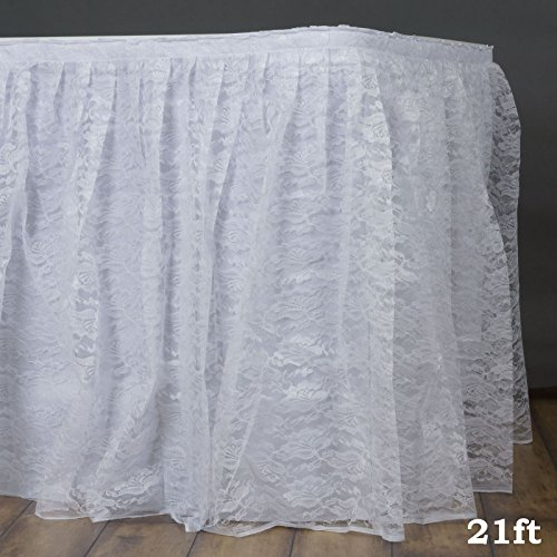 - Efavormart White Dual Layer Lace Polyester Table Skirt for Kitchen Dining Catering Wedding Birthday Party Decorations Events 21FT