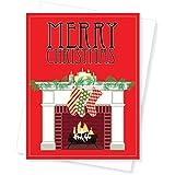 Christmas Mantel Holiday Christmas Cards, Set of 10 Greeting Cards
