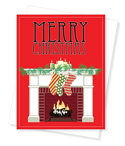 Christmas Mantel Holiday Christmas Cards, Set of 10 Greeting Cards